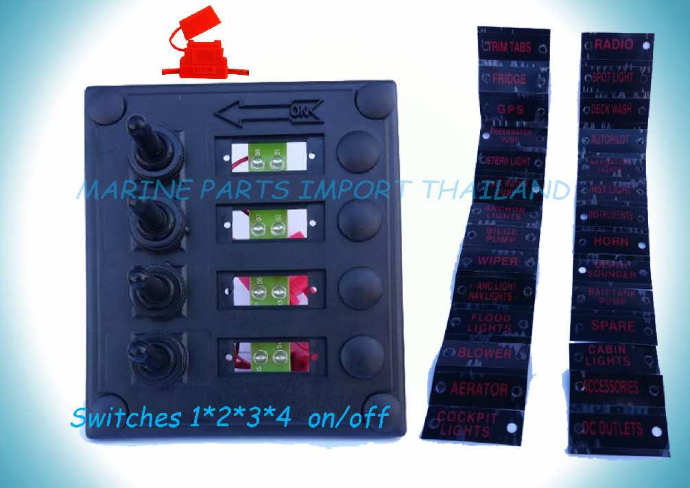 4 Gang Led Rocker Switch Panel