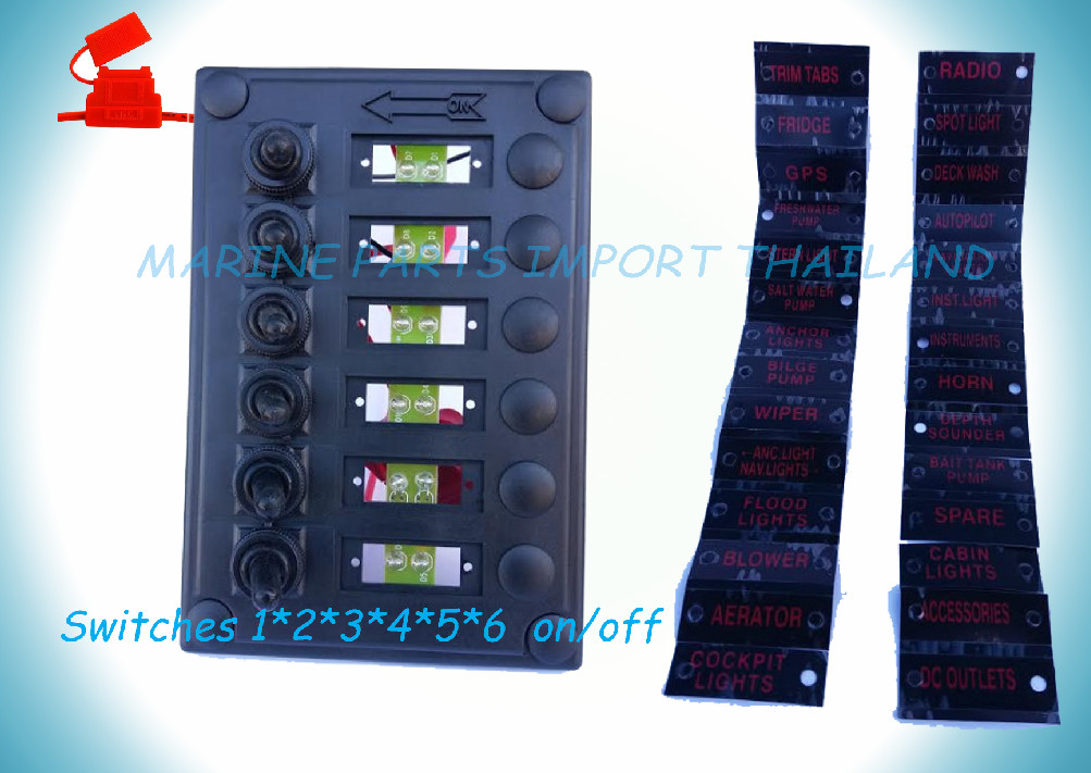6 Gang Led Rocker Switch Panel