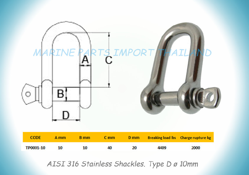 Stainless Shackles. 10mm