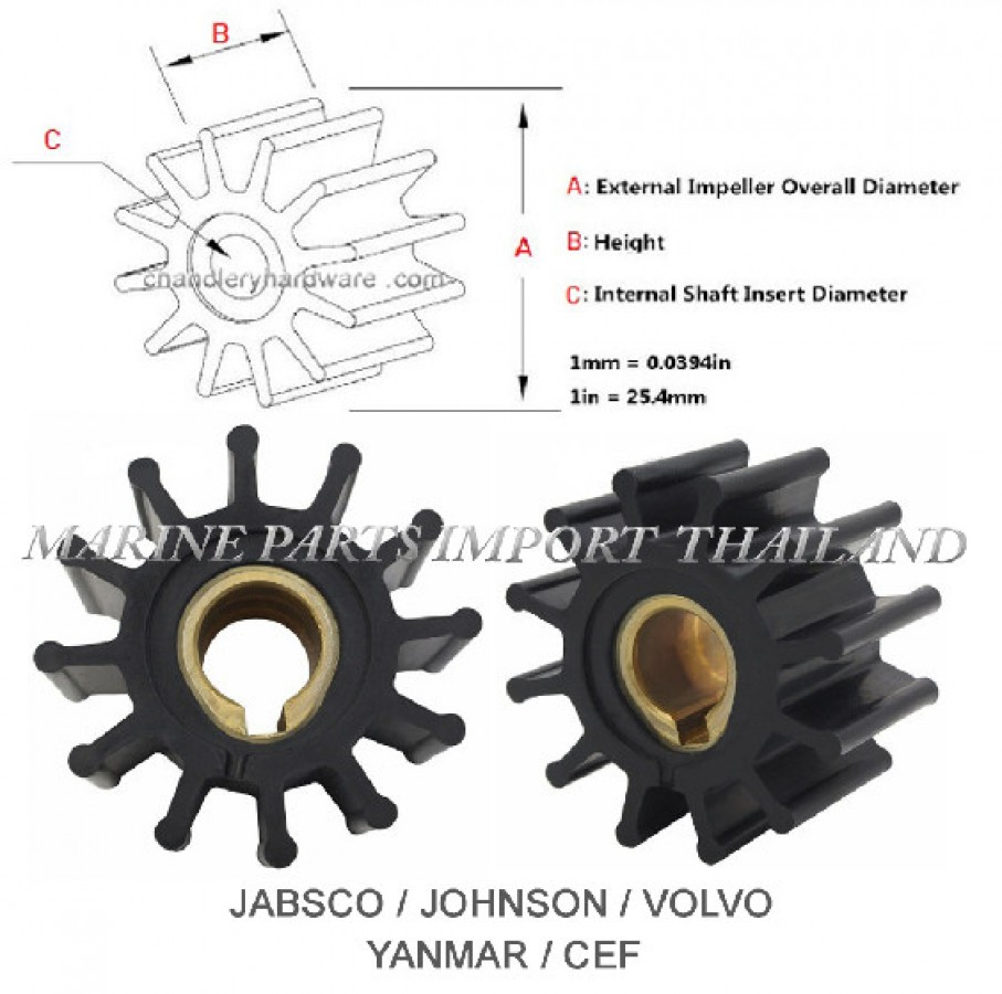 Johnson Impeller 09-801B Volvo 831182 875575-3 Jabsco 4568-0001 YANMAR