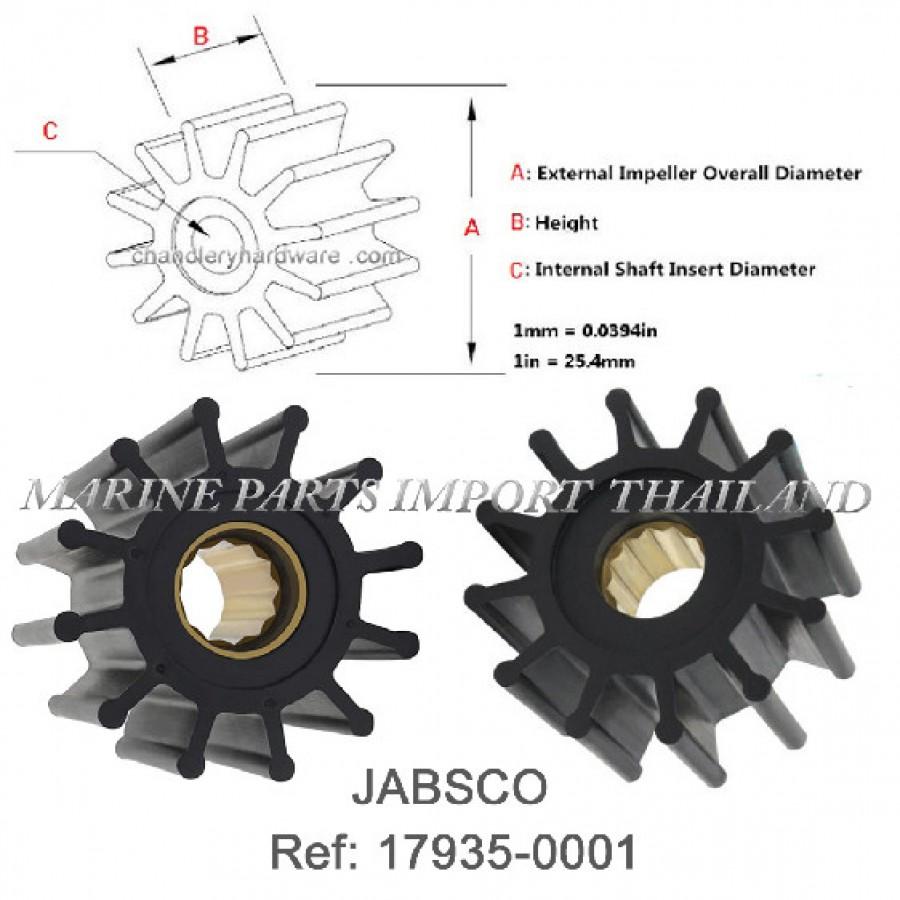 Impeller CEF 500135 T Jabsco 17935-0001 Volvo 877066 Johnson Pump 09-819B